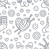 Knitting, sewing seamless pattern. Cute vector flat line illustration of hand made equipment knit needle, bottons, wool. Cotton skeins. Background for yarn Stock Photography