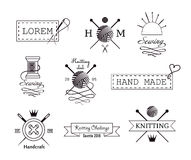 Knitting and sewing vector labels set Stock Image