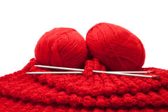 The knitting and skeins of wool Royalty Free Stock Photos