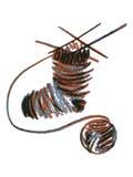 Knitting sock. Hand drawn, cartoon, sketch illustration of knitting sock Royalty Free Stock Photos