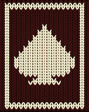 Knitting spades poker card, vector Royalty Free Stock Photography