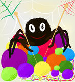 Knitting spider. Cheerful spider witn knitting needles and clews Stock Photo