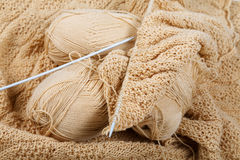 Knitting spokes with ball of wool Stock Photo