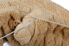 Knitting spokes with ball of wool Stock Photography