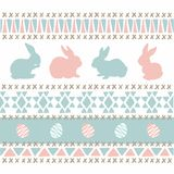 Knitting style blue pink easter bunnies. And eggs, triangle and corsstitch pattern background vector illustration