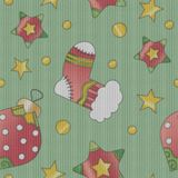 Christmas texture with baubles, stars and socks Stock Photo