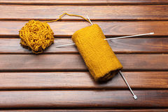 Knitting on the table Stock Images