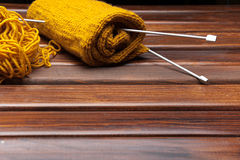 Knitting on the table Stock Photo