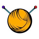 Knitting thread and needles icon, icon cartoon Stock Image