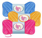 Knitting thread in three colors. Illustration Stock Photo