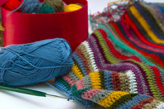 Knitting, threads Stock Images