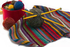 Knitting, threads Stock Photos