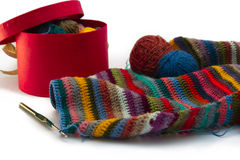 Knitting, threads Royalty Free Stock Photos