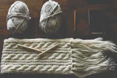 Knitting Tools Arrangement Stock Photography