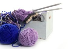 Knitting tools with wool thread balls Royalty Free Stock Image