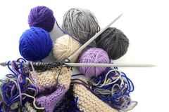 Knitting tools with wool thread balls Royalty Free Stock Images