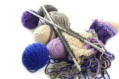 Knitting tools with wool thread balls Stock Photography