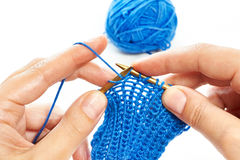 Knitting with two spokes isolated Stock Photos
