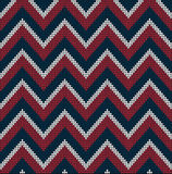 Knitting USA colors pattern sweater battlement2. Fair Pattern sweater design on the wool knitted texture. Seamless Knitting Ornament. USA flag colors Royalty Free Stock Photos