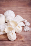 Knitting of white thread and balls Royalty Free Stock Photography