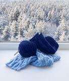 Knitting on windowsill Royalty Free Stock Photography