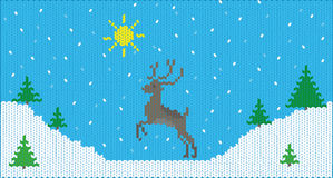 Knitting winter deer Royalty Free Stock Photos