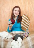 Knitting woman Royalty Free Stock Photography