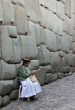 Knitting woman in Cuzco, Peru Stock Image