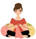 Knitting woman Royalty Free Stock Image