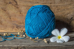 Knitting and wood table background Stock Photos