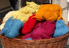 Knitting wool. Skeins in different colors Stock Photo