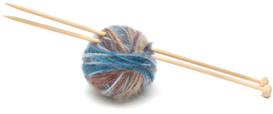 Knitting wool ball isolated on white Royalty Free Stock Images