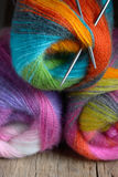 Knitting wool ball with needles Royalty Free Stock Photo