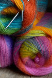 Knitting wool ball with needles Stock Image