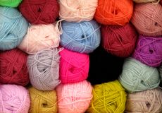 Knitting Wool Balls. A Display of Brightly Coloured Knitting Wool Balls royalty free stock photos