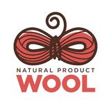 Knitting wool clew bow vector icon for natural product label knit craft Stock Photo