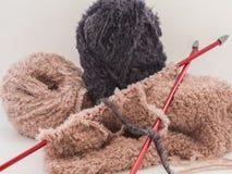 Knitting and wool knitting royalty free stock image