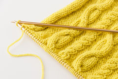 Knitting wool and knitting needles Stock Photos