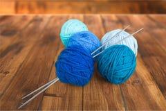 Knitting. Wool  Needle Textile Hobbies Blue Leisure Activity Royalty Free Stock Image