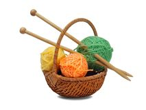Knitting wool and needles Stock Images