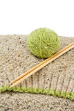 Knitting wool yarn and needles Royalty Free Stock Images