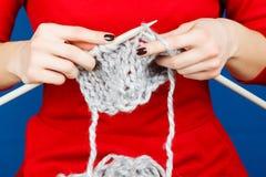 Knitting of woolen yarn. royalty free stock photos