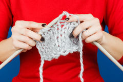 Knitting of woolen yarn. Royalty Free Stock Photo
