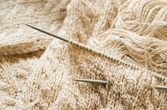 Knitting work. In progress, knitting needles and yarn Royalty Free Stock Image
