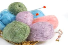 Knitting yarn. Set of colorful knitting yarn with spokes in a basket Stock Image
