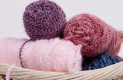 Knitting yarn 2. A set of yarn spools in a basket royalty free stock images