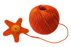 Knitting and yarn ball. It is knitted starfish and the yarn ball Stock Images