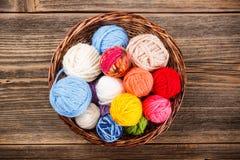 Knitting yarn balls Stock Photography
