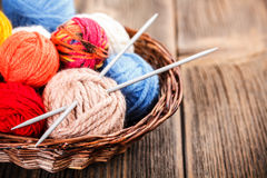 Knitting yarn balls Stock Photos