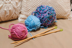 Knitting yarn balls and needles . Stock Images
